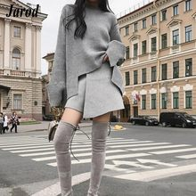 17d47f2f921c2 2018 Autumn Winter 2 Pieces Sweater Dress Set Women Long Sleeve Office Wear  Casual Gray Pullover Knitted Dresses Clothing Suit