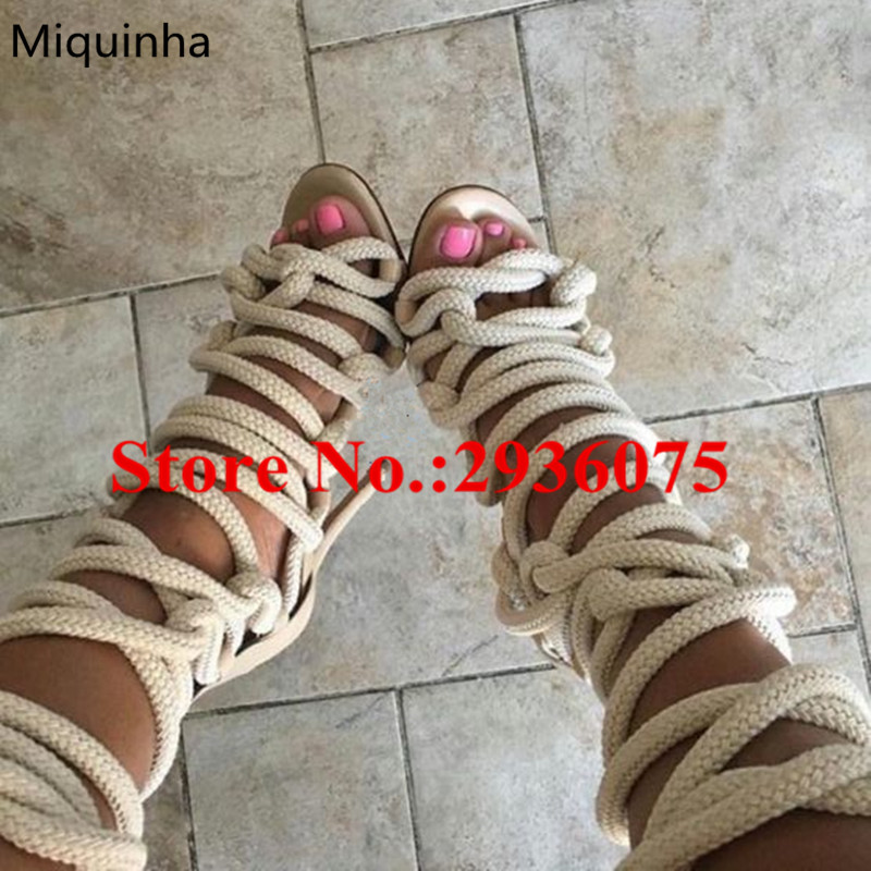 Miquinha Knotted Braided Rope Strappy Sexy Knee High Boots Cross-tied Zip Stiletto High Heels Lace Up Gladiator Sandals Boots [expensive] supply truck rather tight rope tensioner tied up with tight rope tied with wholesale
