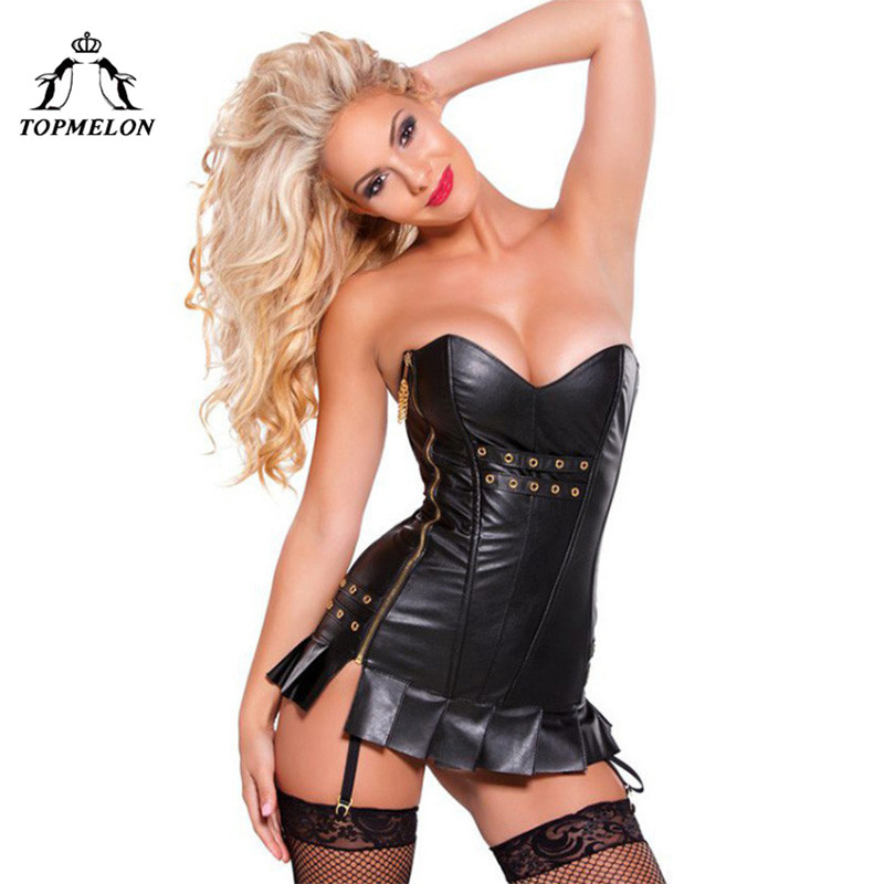 TOPMELON Steampunk Corset Dress Bustier Gothic Corselet Corset Women Sexy Black Leather Ruffles Hollow Out Party Club Dress