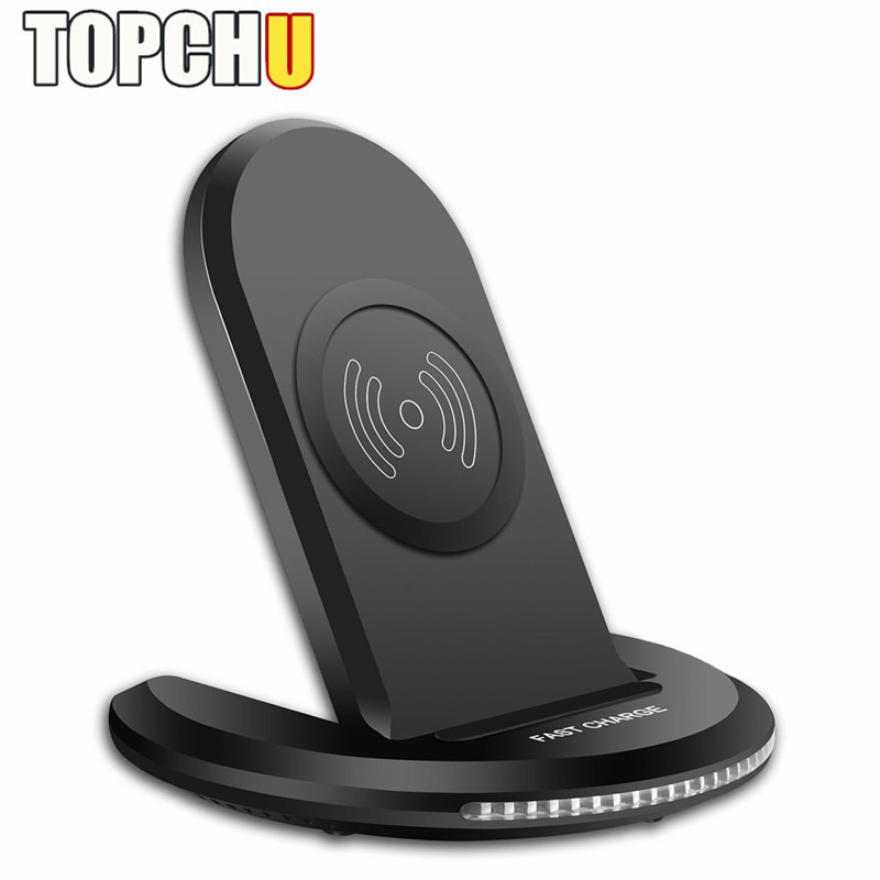 TOPCHU Qi Wireless Charger for iPhone 8 X 8 Plus Folding Wireless Charger for Samsung Support Quick Charge 2.0 3.0 Fast Charging