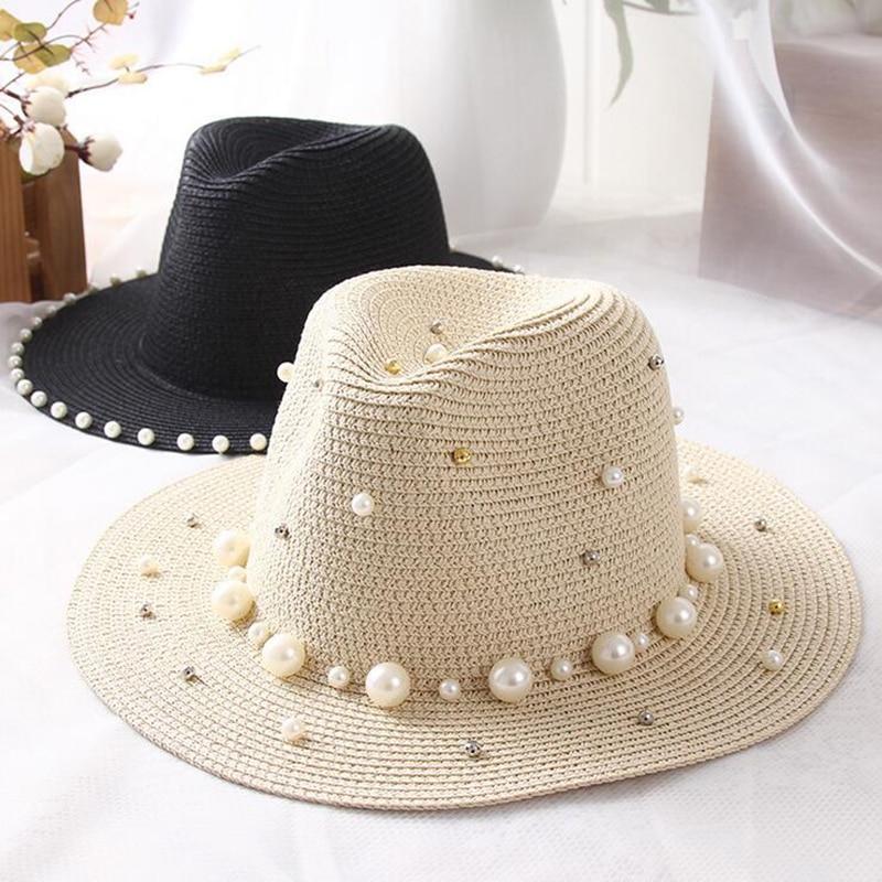 Summer British Flat Brimmed Straw Hat Shading Sun Hat Lady Beach Bucket Cap