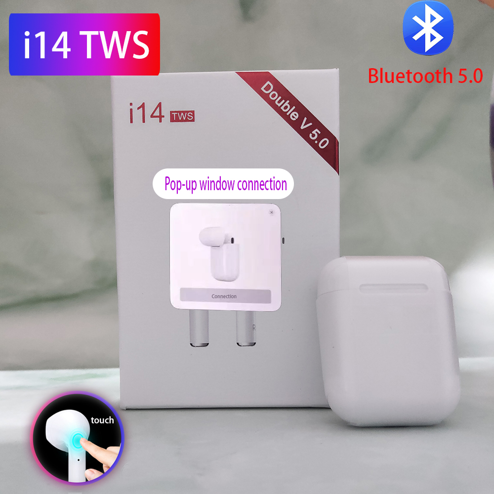 <font><b>Original</b></font> <font><b>i14s</b></font> <font><b>TWS</b></font> Wireless Headphones Stereo Earbud Bluetooth Earphone Sensor Tap control Earbuds Wirless charging For iPhone image