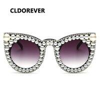 Fashion 2017 Luxury Pearl Rhinestone Sunglasses Women Brand Cat Eye Oversized Sun Glasses For Woman Cool