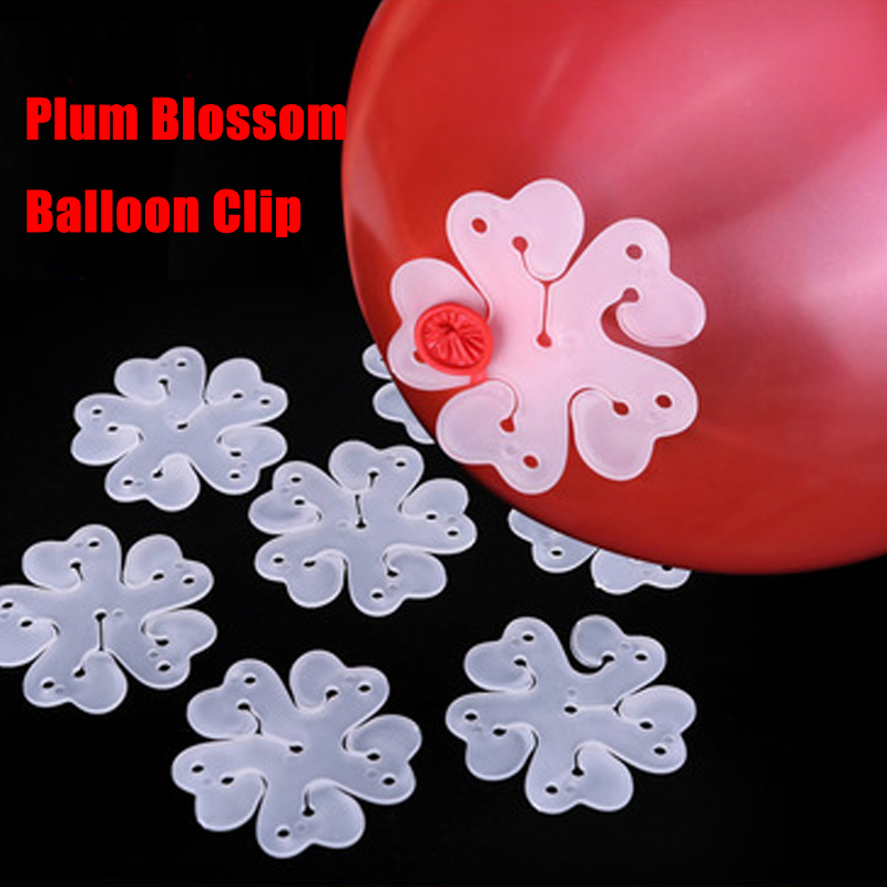 5pcs Balloon Clip Plum Blossom Flower Balloon Seal Flower Fixed Decorate Hydrogen Balloon Toys Glue Clamp Folder Party Hat Tool