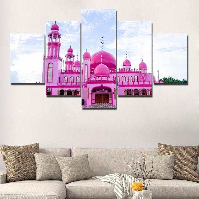 Modern Canvas Pictures Home Decor Living Room 5 Pieces Pink Mosque ...