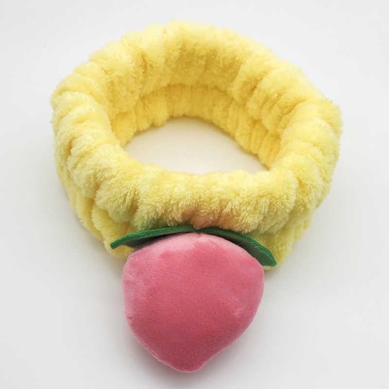 1 шт. розовый персиковый ободок для волос для девочек, Мультяшные эластичные повязки для волос, для мытья лица, для макияжа, маска, повязки для волос для женщин, фруктовые аксессуары для волос