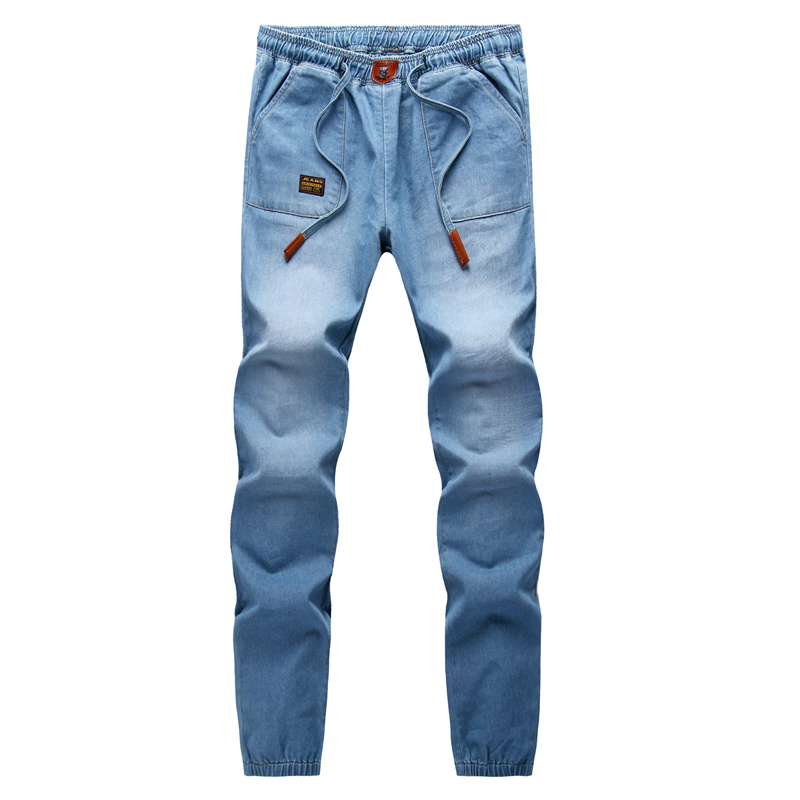 Mens Stretch Jeans Elastic Waist
