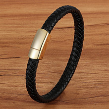 XQNI Simple Design Geometric Veins Genuine Leather Bracelet Accessories Gold/Steel Color New Classic Boys Gift Hand Jewelry(China)