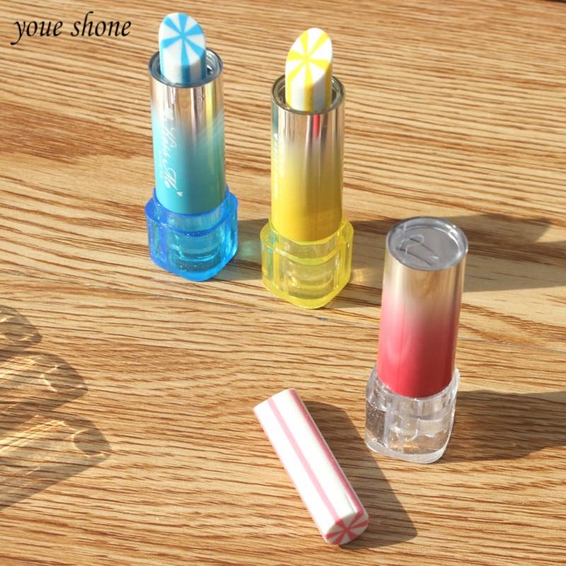 1pcs Korean Lovable Lipstick Rubber Big Student Eraser Text Soft Office Pencil Novelty Student Modelling Cartoon Kawaii School