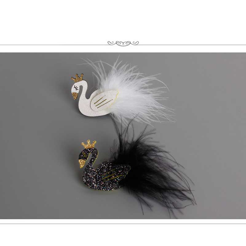 Glitter White and Black Swan Hair Clip with Gold Crown Cartoon Animal Goose Barrette with Further Princess Hairpin Headwear LB