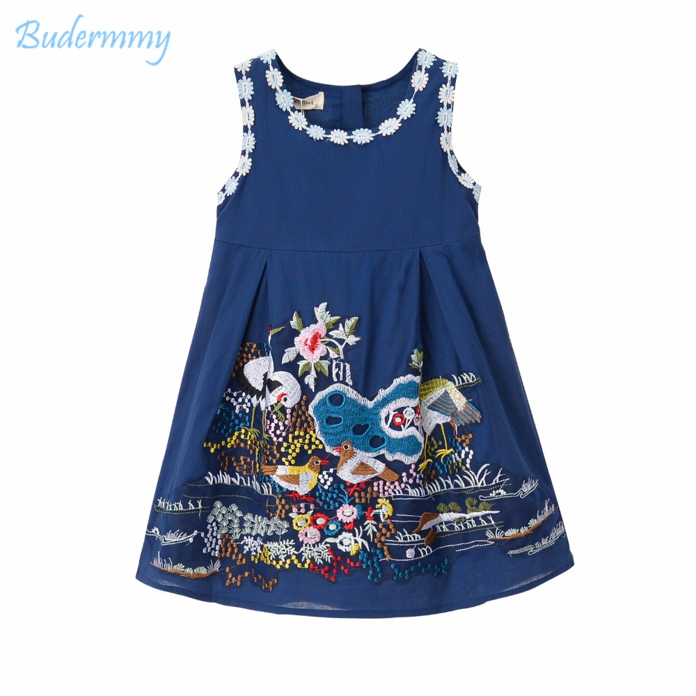 Girls Dress Embroidery Flower Bird Dress for 3 4 5 6 8 10 Years Girls Kids Clothes Cotton Knee-Length Holiday Party Infanl Dress focal bird pack 5 1 super bird