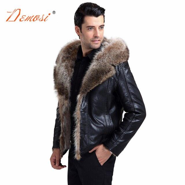 9fe348c4a29b3 2018-19 модная куртка с капюшоном из натурального меха Мужская зимняя  кожаная куртка мотоциклетный стиль