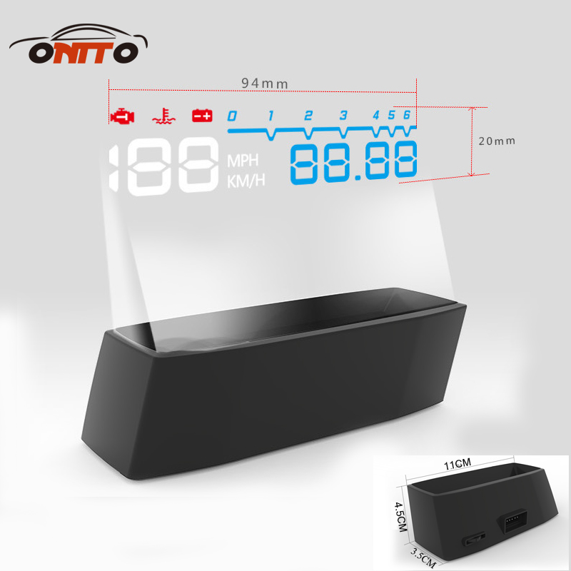 4F Car OBD2 II Manual Switch HUD KM/h MPH Overspeed Warning Windshield Projector Alarm System Head Up Display a8 car hud head up display car speedometer 5 5 inch windscreen projector obd2 code reader speed alarm voltage mph km h display