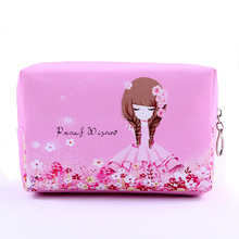 New Big Size Women Make Up Bags Flower Floral PU Zipper Cosmetic Case Simple Casual Girl Lady Pouch Storage Travel Organizer