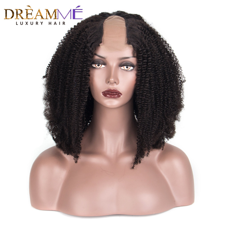 Afro Kinky Curly U Part Wig 100 Mongolian Human Hair Wig Middle Openning 2 4 Inches