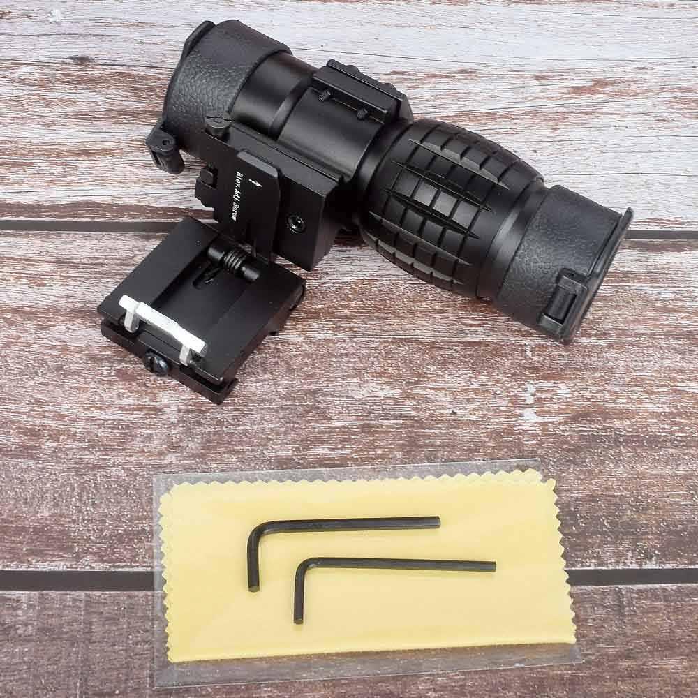 Visor de caza, visor de punto rojo, lupa de 3x, visor compacto con soporte abatible hacia arriba, montaje lateral, picatinny Airsoft, Rifle, pistola, montaje en riel Hu