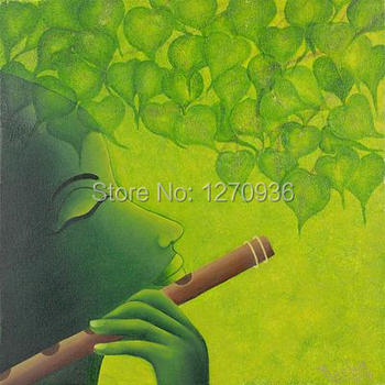 Hand Painted Wall Art Indian Portrait Canvas Oil Painting Handmade Portrait Under the Green Leaves Oil Painting for Decoration