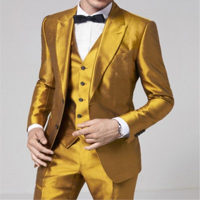 Erkek Kıyafeti'ten T. Elbise'de TPSAADE Moda Tasarım Altın 3 Adet erkek Takım Elbise Resmi Skinny Adım Elbise Blazer Parlak Özel 3 Parça Ceket Pantolon yelek 363'da  Grup 1