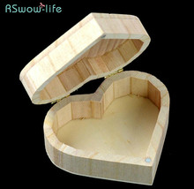 2pcs Solid Wood Heart-shaped Wooden Box Jewelry Gift Festival Party Supplies