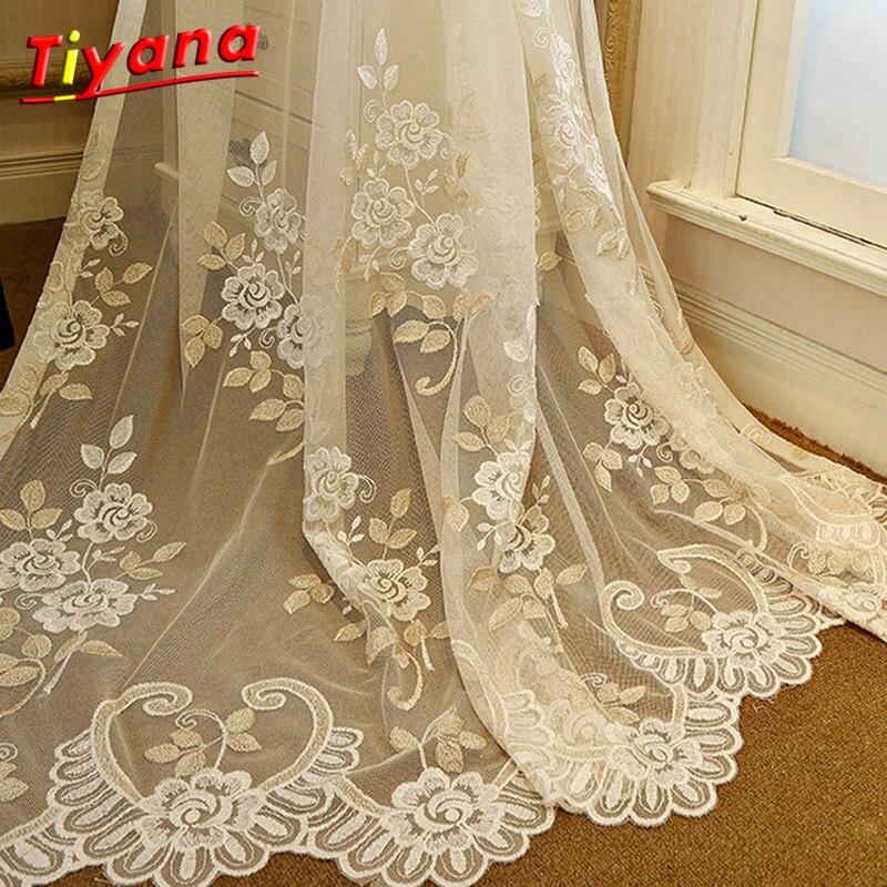 Výšivka Záclony Záclona pro ložnici Obývací pokoj Okno pro skenování Korejský Rustikální Bílý květ Voile Tulle Záclony WP364 * 30