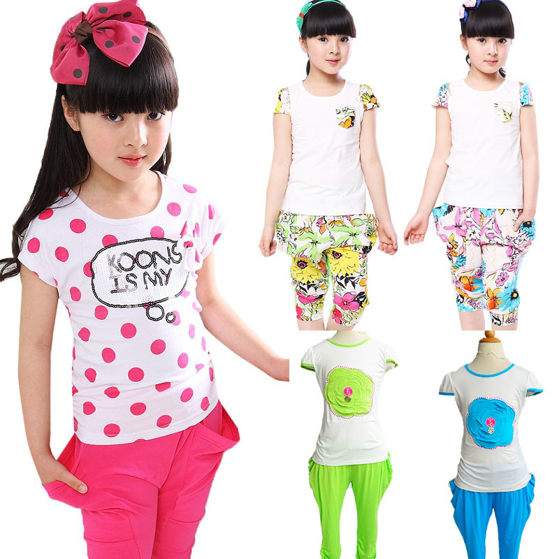 Big girls clothing sets new 2016 summer baby kids clothes casual sport suit cartoon floral polka dot children costume 6 8 10 12T