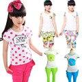 Grandes conjuntos de roupas meninas novo 2016 do bebê verão crianças roupas casuais terno do esporte dos desenhos animados floral polka dot crianças costume 6 8 10 12 T