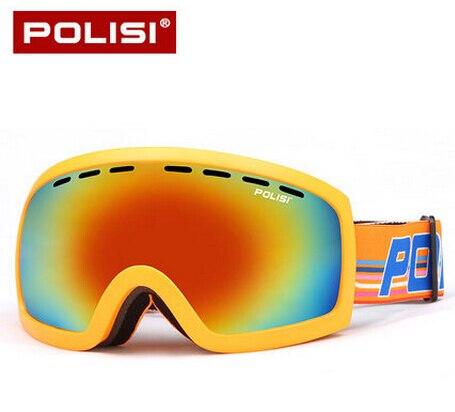 Polisi hombres mujeres snowboard gafas de esquí lente doble capa de protección u