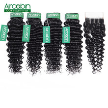 Deep Wave Human Hair Bundles With Closure 4 pcs/lot Brazilian Hair Weave Bundles With Closure NonRemy Hair Extension Aircabin Ha(China)