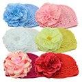 Artificial Peony Flores Bebê Bonito Chapéus para Meninas Crochet Gorro de Malha Cap Crianças Crianças Foto Props Acessórios Decorativos