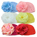 Artificial Pretty Peony Flowers Baby Hats for Girls Crochet Beanie Knitted Cap Kids Children Photo Props Decorative Accessories