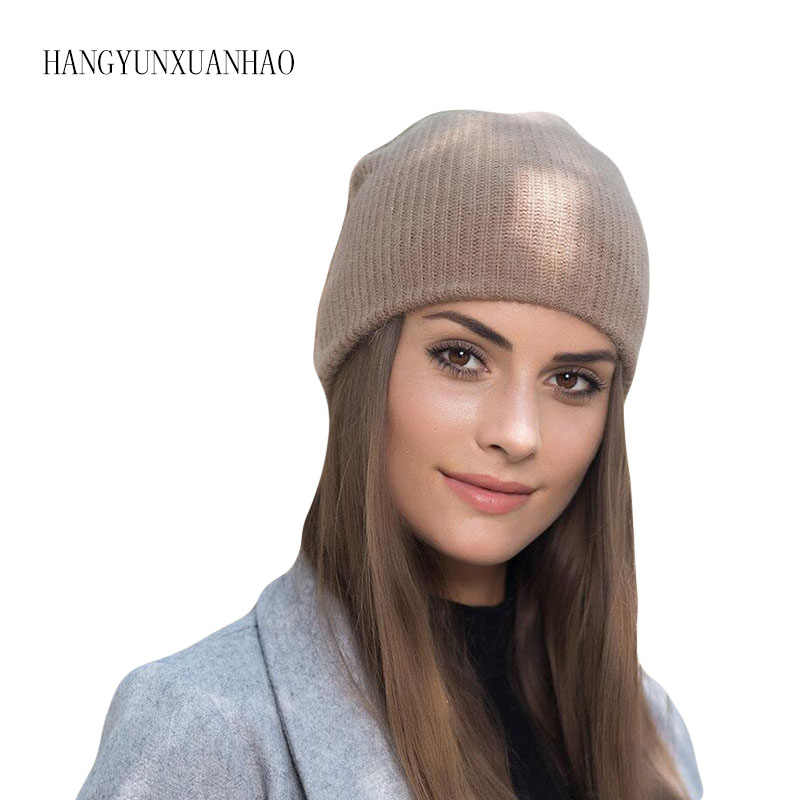 Hangyunxuanhao 여성을위한 고품질 겨울 모자 캐시미어 beanies ladise 니트 토끼 머리 skullies 모자 앙고라 pompom gorros