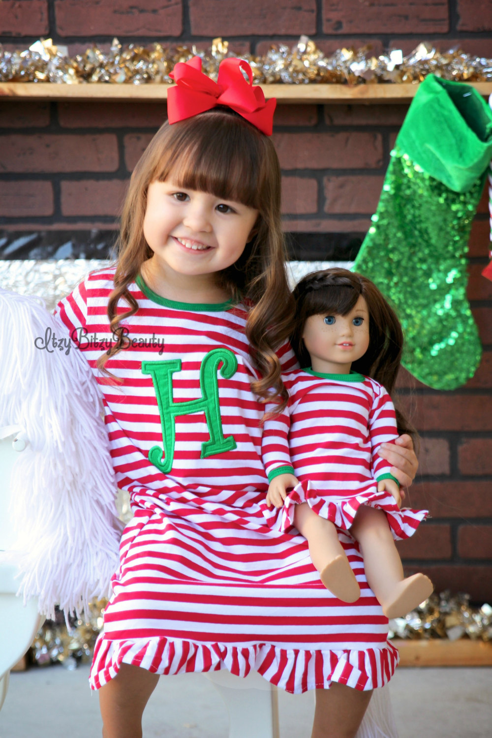 Girls-Christmas-Nightgown-Ruffle-Dress-Girls-Christmas-Pajamas-Red-And-White-Stripe-personalized-custom-initial-monogram-Dress-2