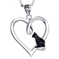 Hollow Pet Necklaces Cute Animal Dog Cat Memorial Jewelry Pet Lover Puppy Heart Charm 925 Sterling