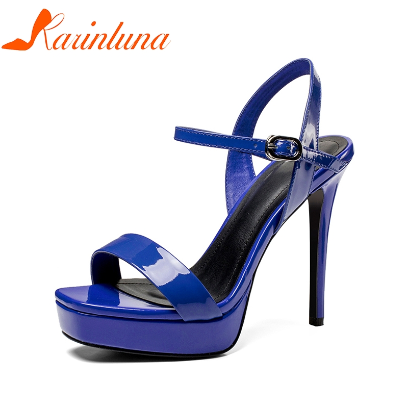 KARINLUNA Brand Shoes Women Genuine Leather Thin High Heels Top Quality Platform Shoes Woman Sexy Summer Party Sandals brand new qitong pu 13cm woman thin ultra heels platform lady sandals nightclub t walk woman shoes high heeled sexy party shoes