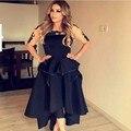Corto delantero volver larga negro estilo árabe vestidos noche con la mitad de la manga del tobillo de longitud pura cuello vestidos elegantes robe Noire Arabe
