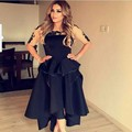 Front Short Back Long Black Arabic Style Evening Dresses with Half Sleeve Ankle Length Sheer Neck Elegant Gowns robe Noire Arabe