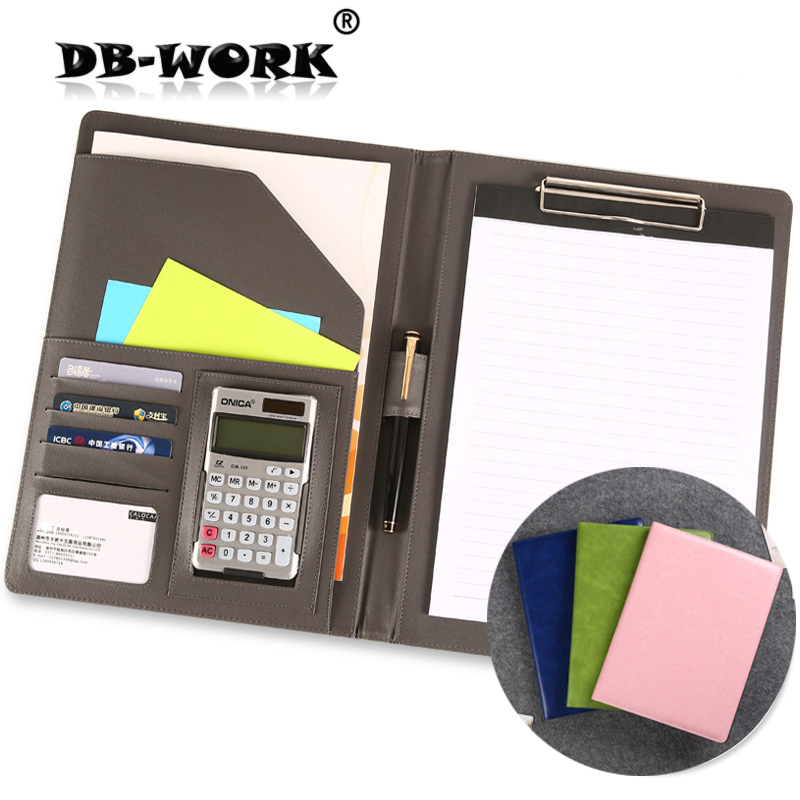 A4 multi-function folder 4 s sales contract signing business binder skin lobby manager Business Leather notebook two tone frame round lens sunglasses