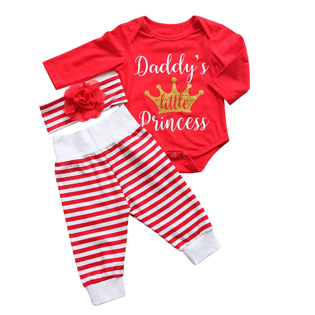 b2486a26eb0 3PCS Set Newborn Baby Girl Clothes 2017 Daddy s Little Princess Long Sleeve  Romper Tops+Striped Pant Headband Xmax Clothing