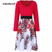 Kakaforsa Women Elegant Floral Dress Casual Ruched Draped A Line Dresses Ladies High Waist Long Sleeve