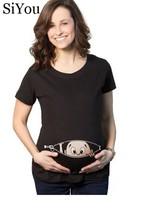 Pocket Baby Pee A Boo Print Women T Shirts Maternity TShirt Cotton Funny Maternity Shirts Gravida