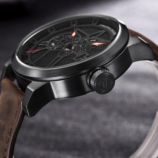 Classic Skeleton Mechanical Waterproof Genuine Leather Watch 3