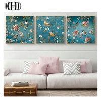 MHD Flowers And Birds Icon 1 Set 3pcs Diamond Embroidery Full 5D DIY Three Spell Diamond