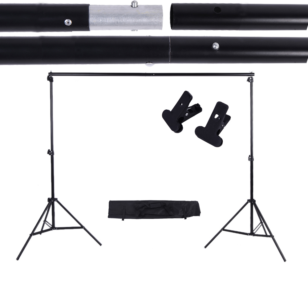 2 * 3m / 6.6 * 9.8ft Adjustable Background Backdrop Support Stand Photo Backgrounds Backdrops Crossbar Kit With Two Clamps