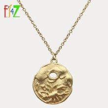 Fj4z популярное ожерелье с монетами винтажные круглые ожерелья