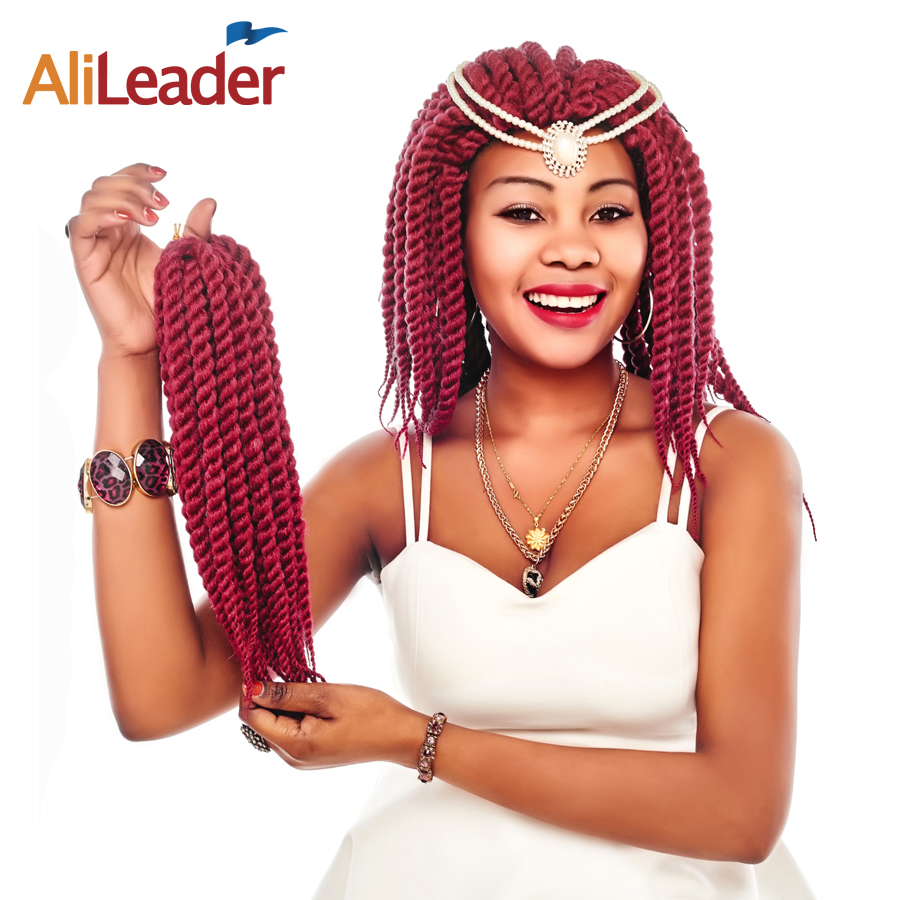 AliLeader 5Pcs/Lot Havana Twist Hair 12 18 22 Inch Kanekalon Braiding Hair, 7 Colors Black Red Grey Crochet Hair Extensions