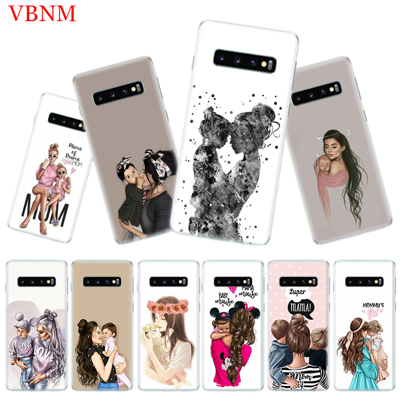 Baby Mom Girl Popular Phone Case for Samsung Galaxy S10 Plus S10E A50 A70 A30 A10 A20E M40 M30 M20 M10 A20 A80 A40 A60 Cover in Half wrapped Cases from Cellphones Telecommunications