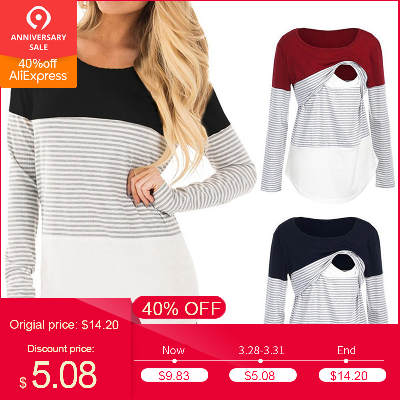 49921b532abe3 2019 New Women Mom Pregnant clothes blouse ropa de mujer shirt maternity  Nursing Maternity Long Sleeved