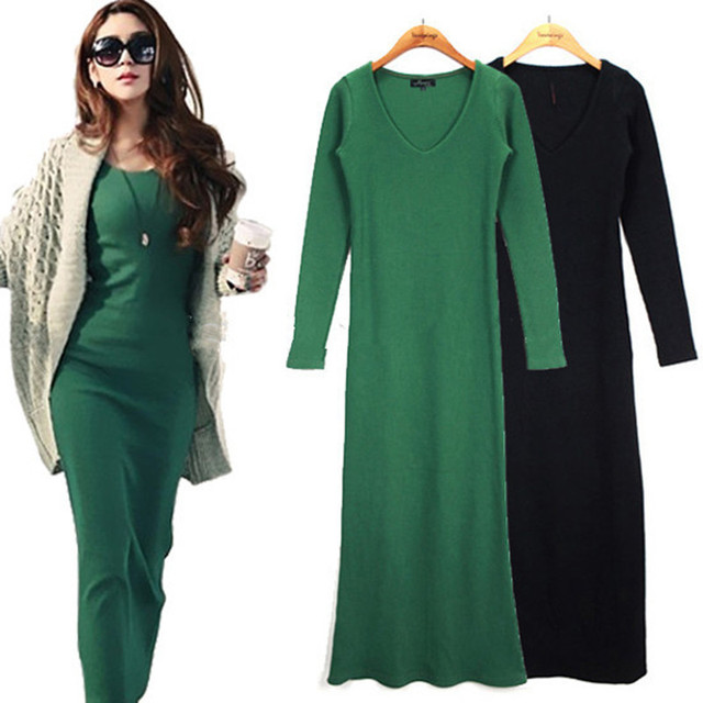 515ce49795e79 2019 autumn winter Long sleeve maxi dress Elegant office robe femme casual  dress women plus size clothing knitted bodycon Dress