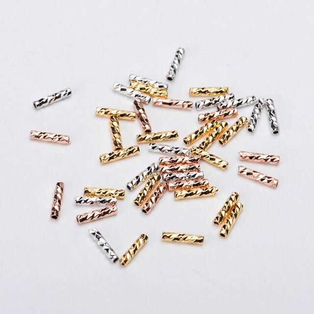 10 pcs/lot perles cylindriques bricolage fleur creuse charmes en métal pour bijoux accessoires femme perles pour bracelet fabrication de bijoux