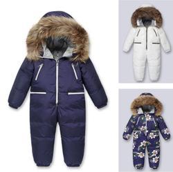 2019 Russia Bambino Vestiti Delle Ragazze, Inverno Abbigliamento Piuma Addensare Giù Bambino Vestiti Dei Ragazzi Neonato Giù Snowsuits Infantil Overal